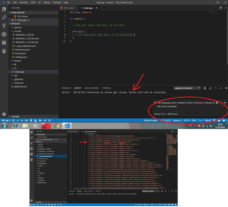 Help me please  Connection to server got closed - PlatformIO