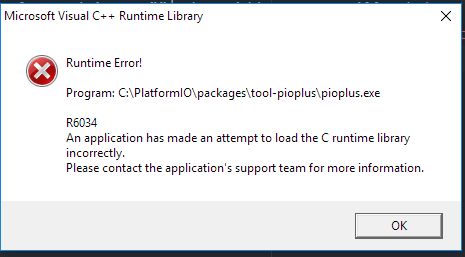 Windows r6034 error on (any?) platformio scripts running - PIO Plus