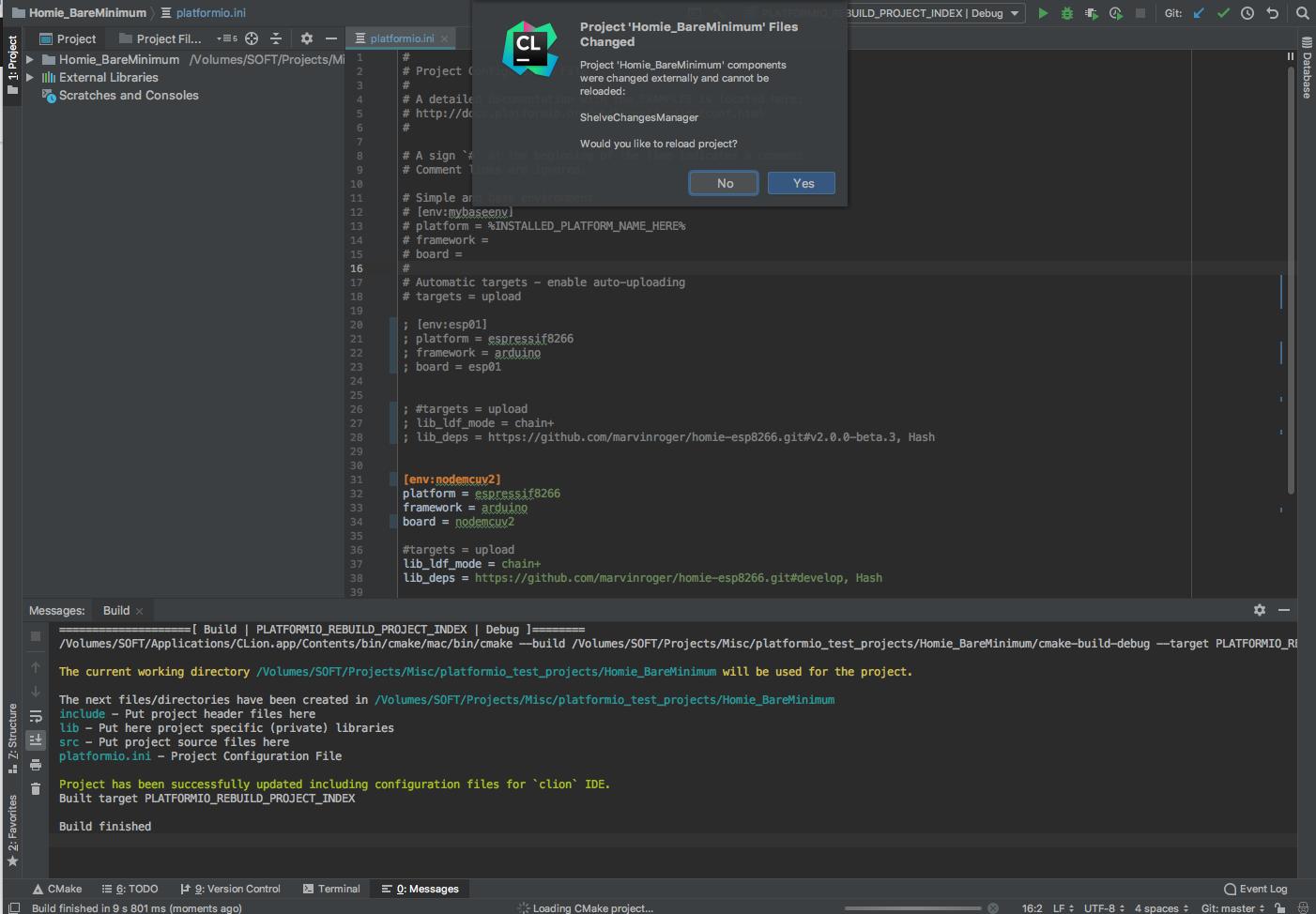 Reload Error with CLion - Integration - PlatformIO Community