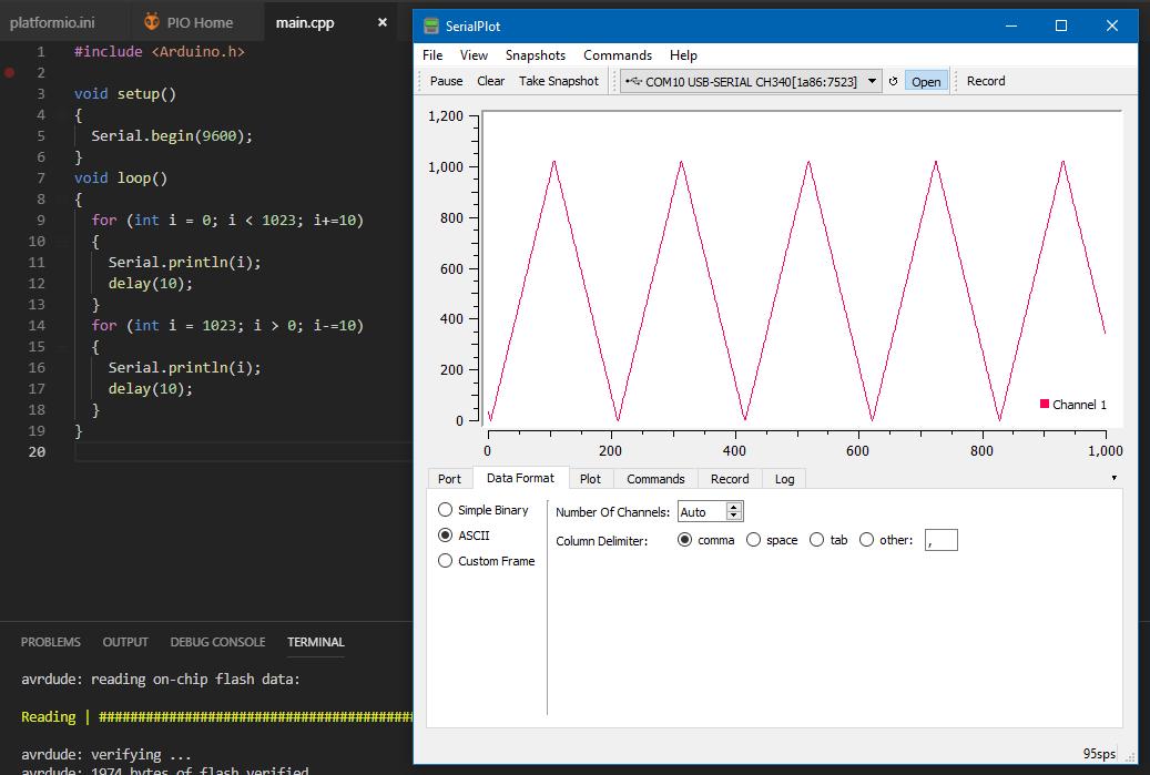 Plotting using platformio - PlatformIO IDE - PlatformIO
