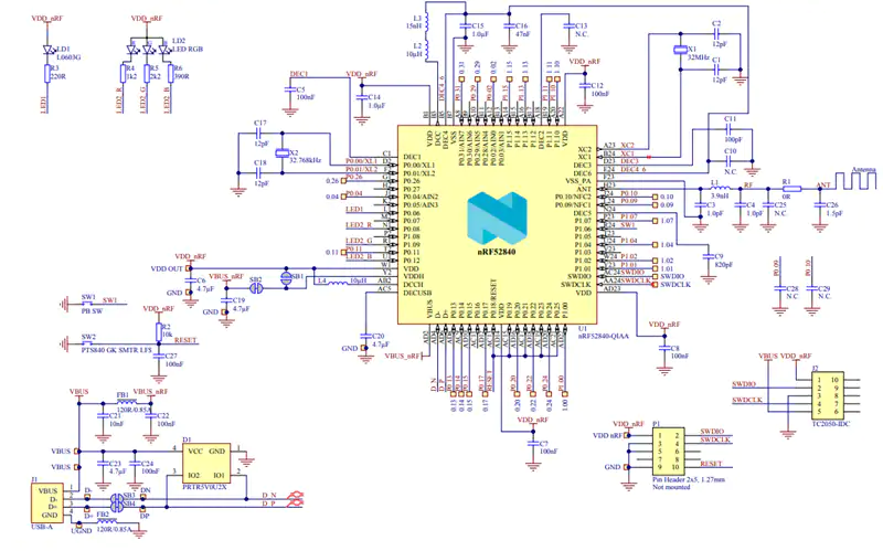 nordic-nrf52840-usb-dongle-schematic