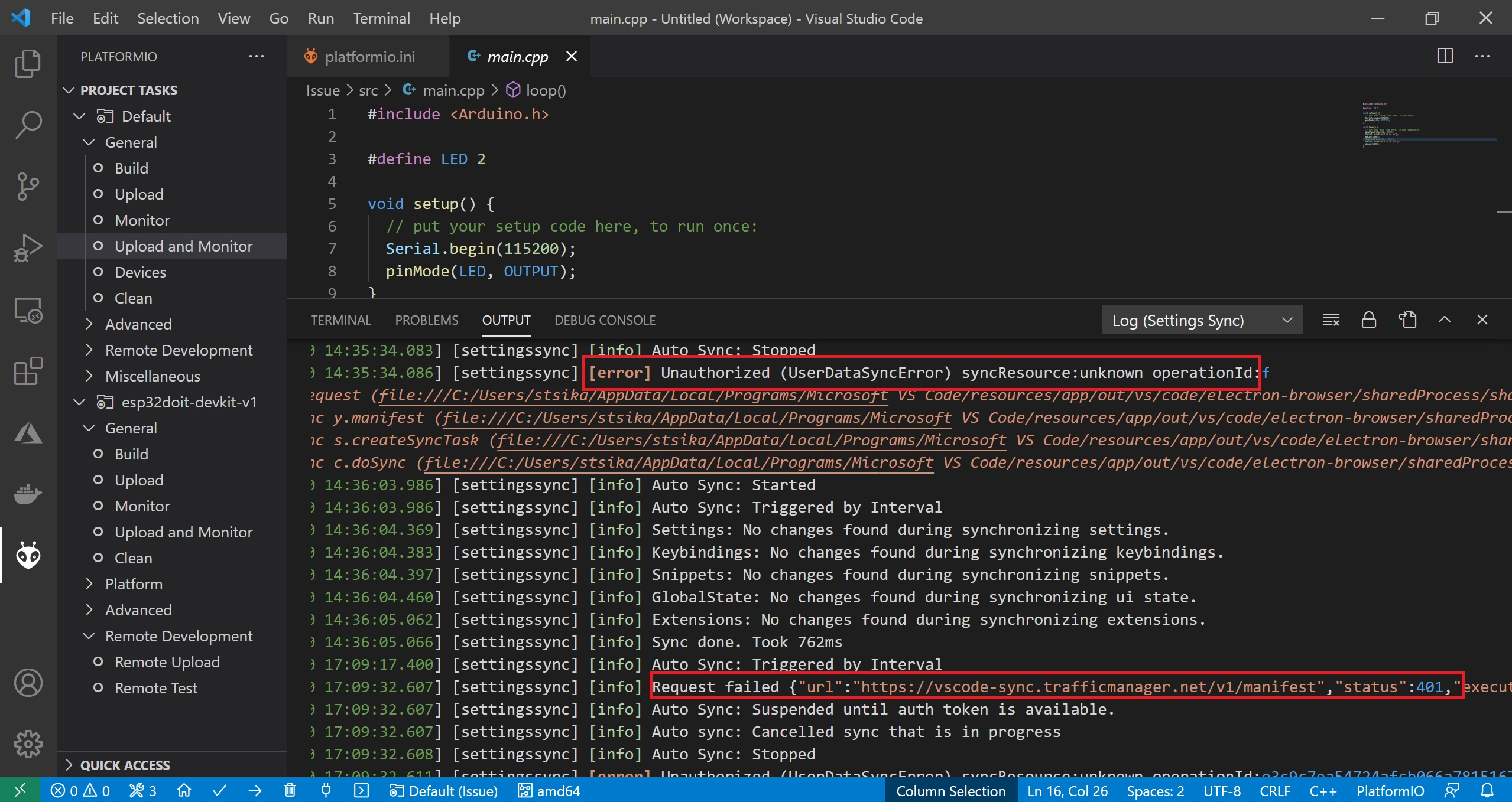 platformio VS code issue 1.4