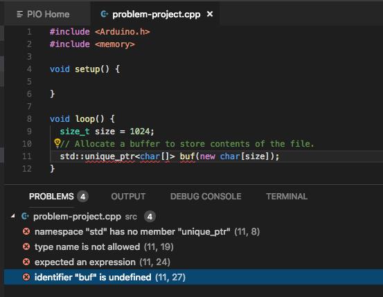 Error in vscode but not in command line build - PlatformIO IDE