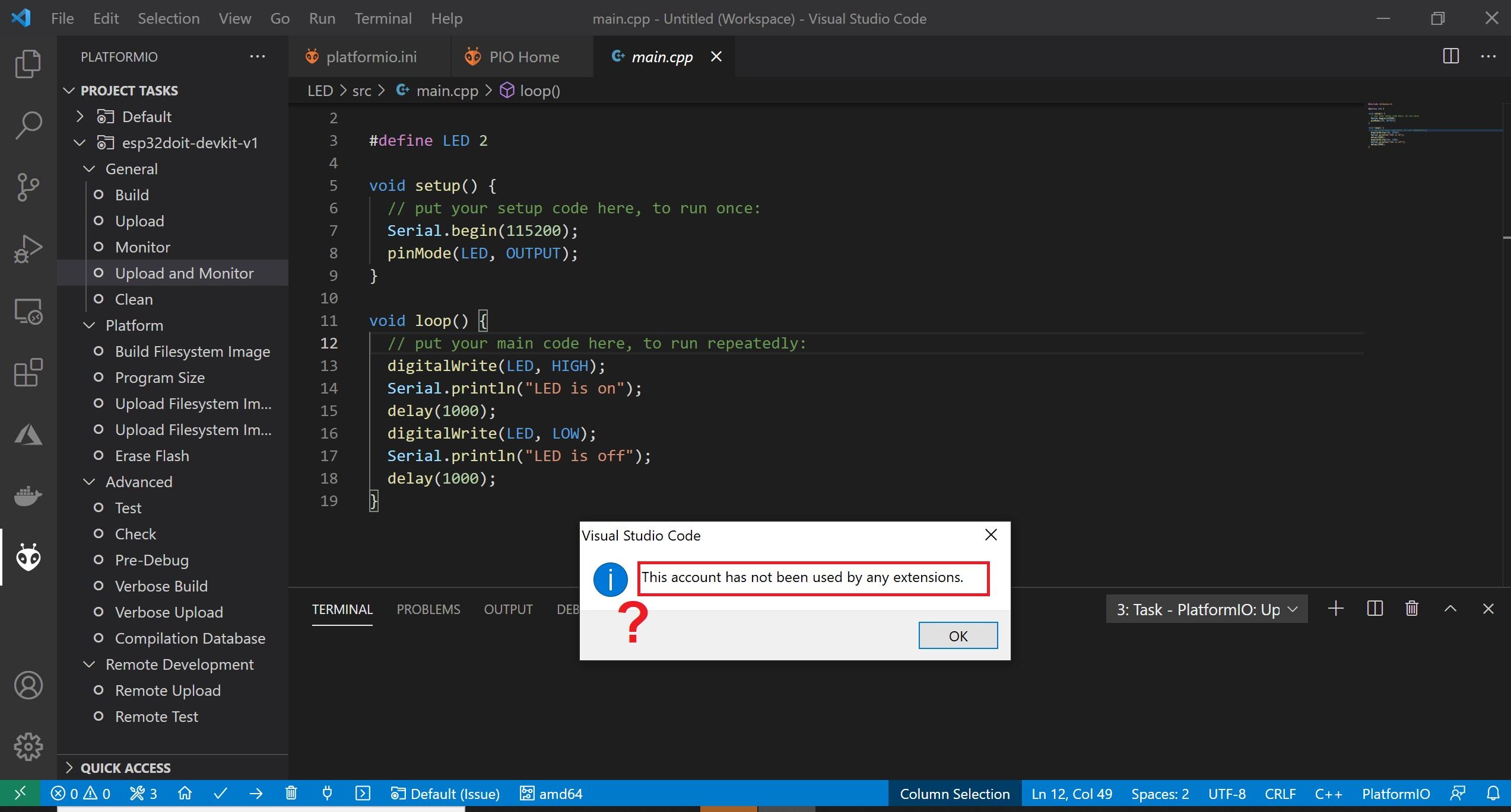 platformio VS code issue 1.3