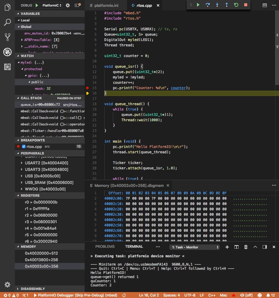 Finally, PIO Unified Debugger comes to VSCode