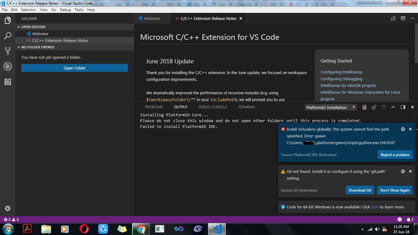 Failed to install Platformio on vscode - PlatformIO Community