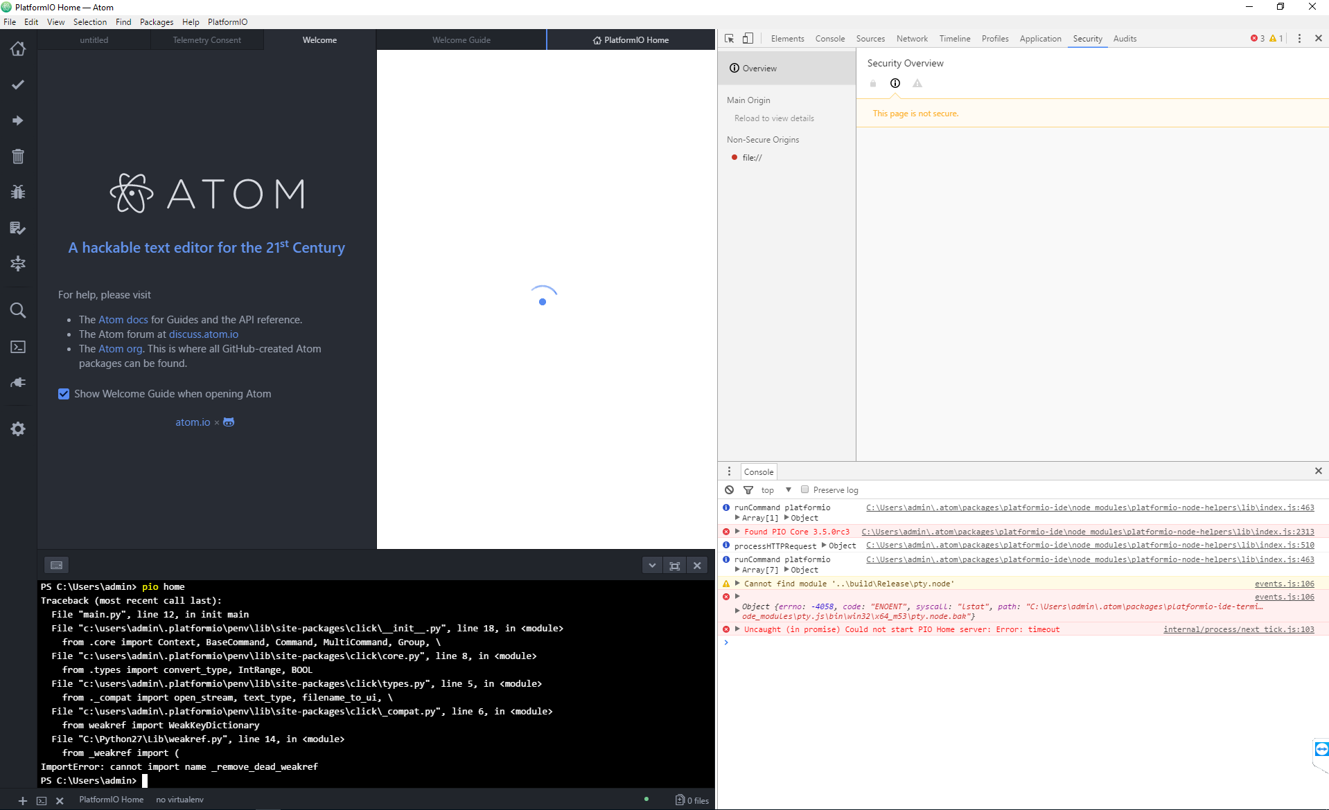 Platform-io home doesn't work in Atom (ImportError: cannot import