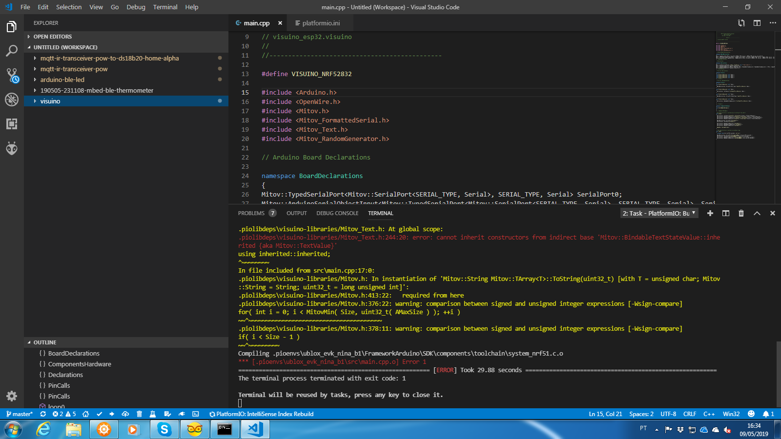 PLATFORMIO Arduino NRF52 code - error - PlatformIO Community