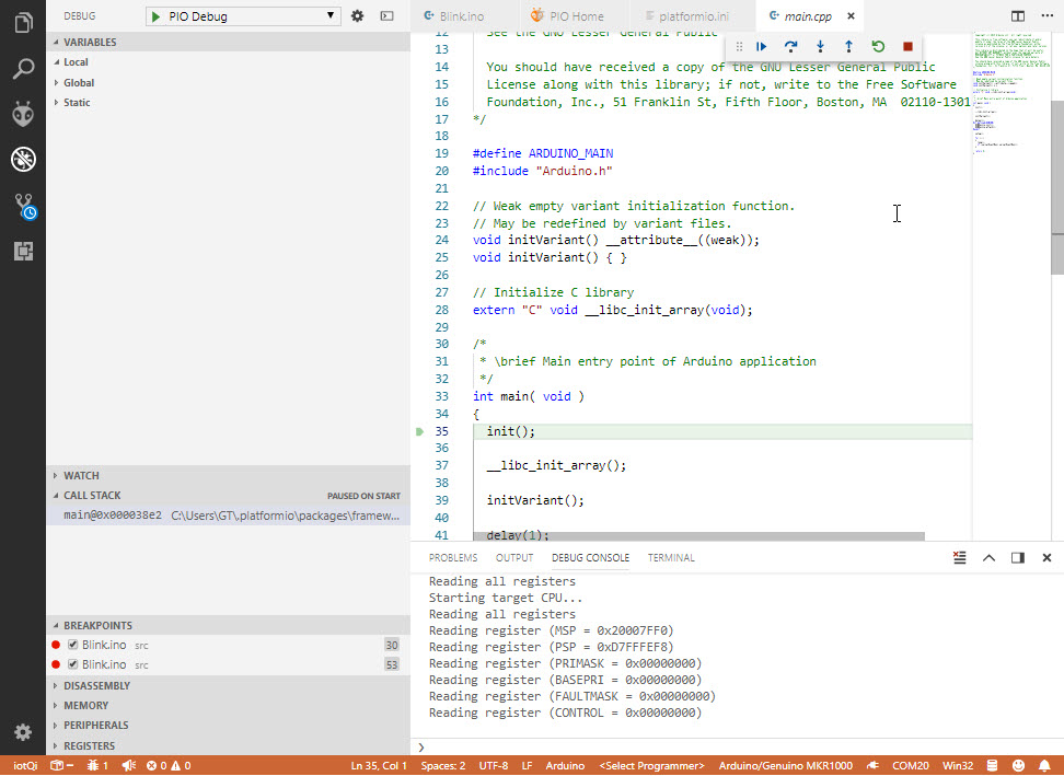 Unable to get started using PIO Unified Debugger with Segger