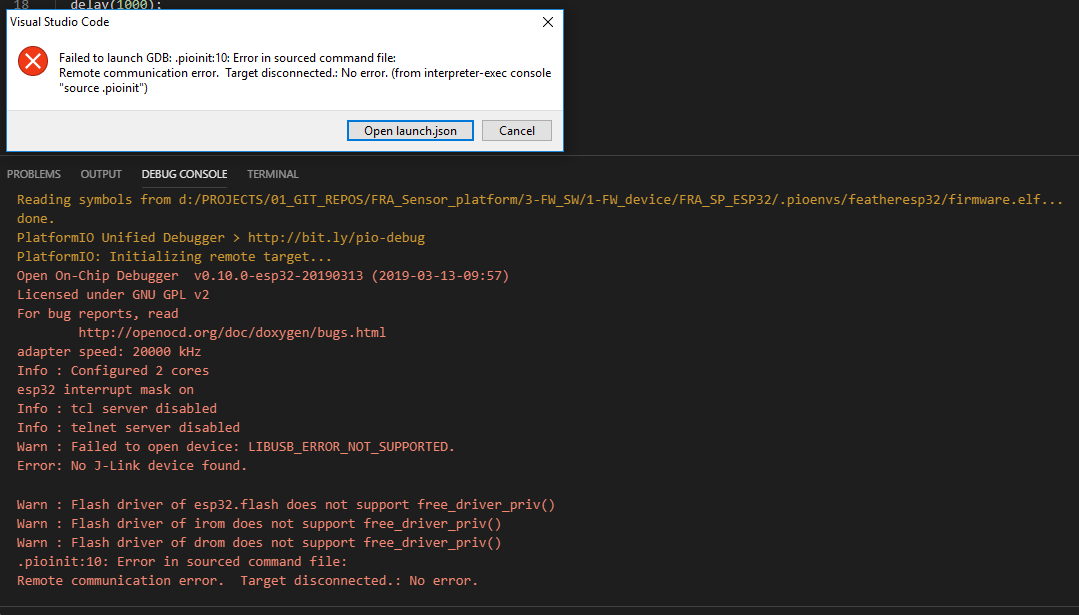 ESP32 + J-link debugger does not start - PIO Unified
