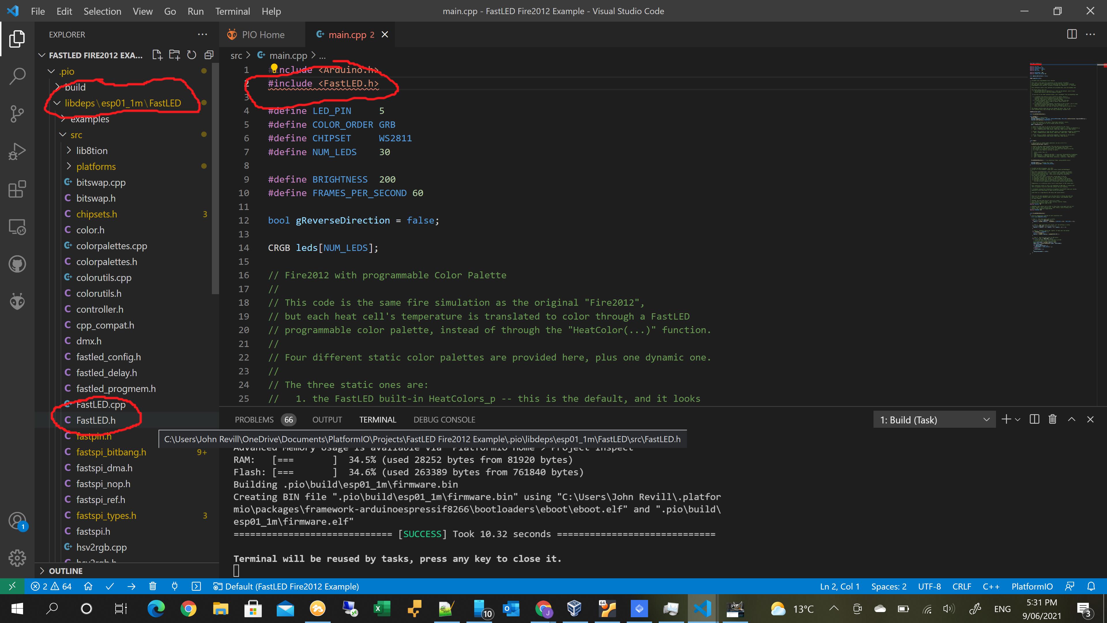 Windows 10 VSCode include error