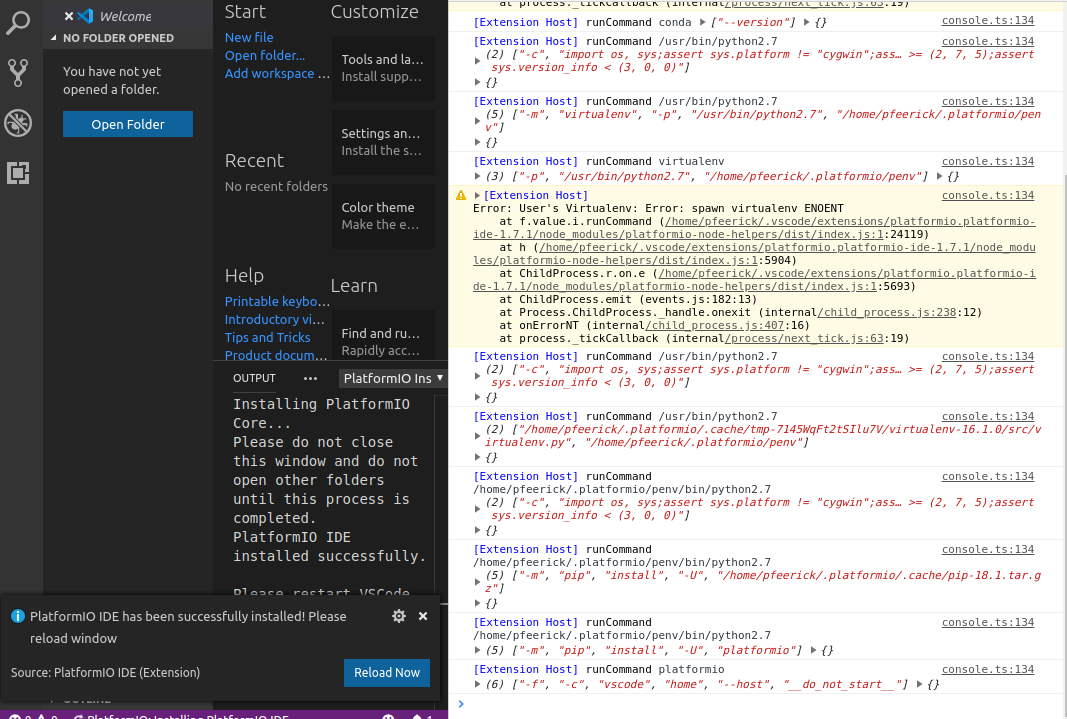 Not able to install and open platformio in VScode on fresh
